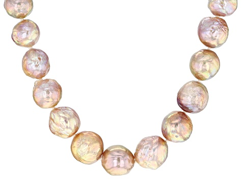 Natural Peach Color Cultured Kasumiga Pearl Rhodium Over Sterling Silver 18 Inch Strand Necklace