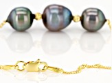 Cultured Tahitian Pearl 18k Yellow Gold Over Sterling Silver 18 Inch Necklace 8-10mm