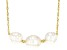 White Cultured South Sea Pearl 18k Yellow Gold Over Sterling Silver 18 Inch Necklace 8-10mm