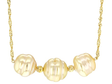 Golden Cultured South Sea Pearl 18k Yellow Gold Over Sterling Silver 18 Inch Necklace 8-10mm