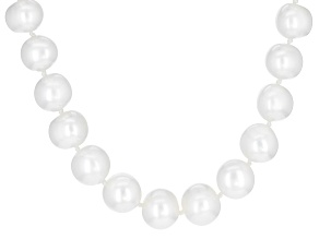 White Cultured Off-Round Freshwater Pearl 8-9mm Sterling Silver 20 Inch Strand Necklace