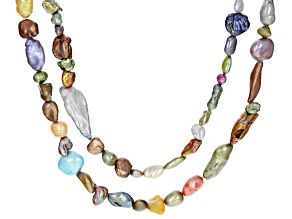 Multi-Color Cultured Freshwater Pearl 36 And 48 Inch Endless Strand Necklace Set of 2