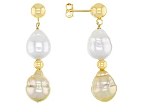 White And Golden Cultured South Sea Pearl 8-9mm 18k Yellow Gold Over Sterling Silver Drop Earrings