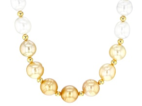 White And Golden Cultured South Pearl 8-10mm 18k Yellow Gold Over Sterling Silver 18 Inch Necklace