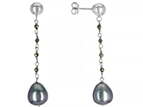 Cultured Tahitian Pearl 9-10mm And Pyrite Rhodium Over Sterling Silver Drop Earrings