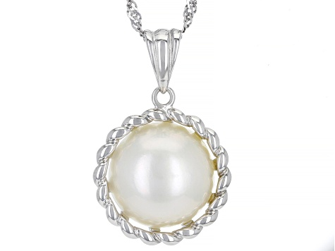 White Cultured South Sea Mabe Pearl 14mm Rhodium Over Sterling Silver Pendant With Chain
