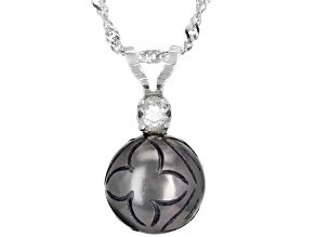 Hand Carved Cultured Tahitian Pearl 12mm And White Topaz 0.35ctw Sterling Silver Pendant With Chain
