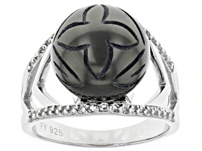 Hand Carved Cultured Tahitian Pearl And White Topaz 0.32ctw Rhodium Over Sterling Silver Ring 12mm
