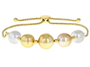 White And Golden Cultured South Sea Pearl 18k Yellow Gold Over Sterling Silver Bolo Bracelet 8-10mm