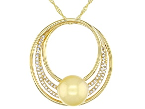 Golden Cultured South Sea Pearl And White Topaz 0.3ctw 18k Yellow Gold Over Sterling Silver Pendant