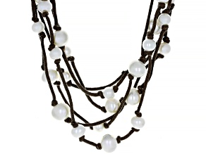 White Cultured Freshwater Pearl 7-10.5mm With Brown Cord And Rhodium Over Sterling Silver Necklace