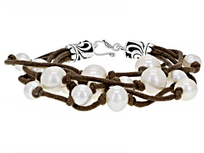 White Cultured Freshwater Pearl 7-10.5mm With Brown Cord And Rhodium Over Sterling Silver Bracelet