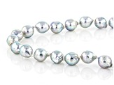 Platinum Cultured Japanese Akoya Pearl 7-7.5mm Rhodium Over Sterling Silver Strand 18 Inch Necklace