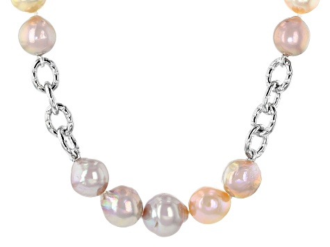 Natural Multi-Color Cultured Freshwater Pearl 10-12mm Rhodium Over Sterling Silver 20 Inch Necklace