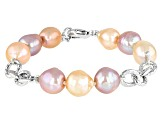 Natural Multi-Color Cultured Freshwater Pearl 10-12mm Rhodium Over Sterling Silver 8 Inch Bracelet