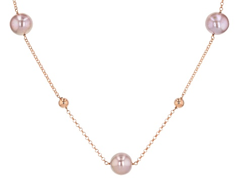 Pink Cultured Freshwater Pearl 10-11.5mm 18k Rose Gold Over Sterling Silver 36 Inch Necklace