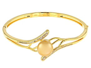 Golden Cultured South Sea Pearl 11mm & White Topaz 0.43ctw 18k Yellow Gold Over Silver Bangle