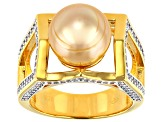 Golden Cultured South Pearl 10mm And White Topaz 0.78ctw 18k Yellow Gold Over Sterling Silver Ring