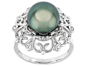 Cultured Tahitian Pearl 10mm And White Topaz 0.4ctw Rhodium Over Sterling Silver Ring