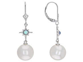 White Cultured Freshwater Pearl & Lab-Created Opal Rhodium Over Silver Earrings