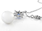 White Cultured Freshwater Pearl, Lab-Created Opal, & Cubic Zirconia Rhodium Over Silver Necklace