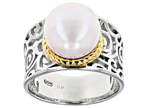 White Cultured Freshwater Pearl Rhodium & 18k Yellow Gold Over Sterling Silver Ring
