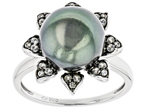 Cultured Tahitian Pearl 9-10mm & White Zircon 0.41ctw Two-Toned Rhodium Over Sterling Silver Ring