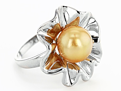 Golden Cultured South Sea Pearl 10-11mm  Rhodium Over Sterling Silver Ring