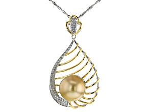 Golden Cultured South Sea Pearl & White Zircon 0.75ctw Two-Toned Sterling Silver Pendant With Chain