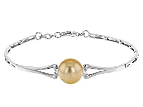 Golden Cultured South Sea Pearl 10-11mm Rhodium Over Sterling Silver 7 Inch Bracelet