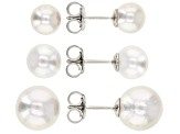 White Cultured Freshwater Pearl Rhodium Over Sterling Silver Stud Earrings Set of 3