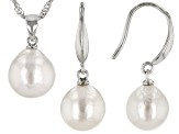 White Cultured Freshwater Pearl 10-12mm Rhodium Over Sterling Silver Earrings & Pendant Set