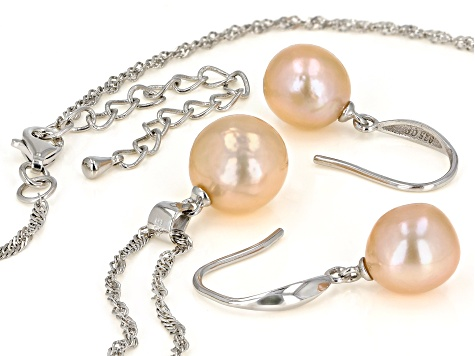 Peach Cultured Freshwater Pearl 10-12mm Rhodium Over Sterling Silver Earrings & Pendant Set