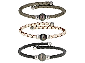 Cultured Tahitian Pearl 9mm Stainless Steel Imitation Leather Bangle Bracelet Set of 3