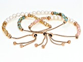 White Cultured Freshwater Pearl & Crystal 18k Rose Gold Over Stainless Steel Bolo Bracelet Set of 3