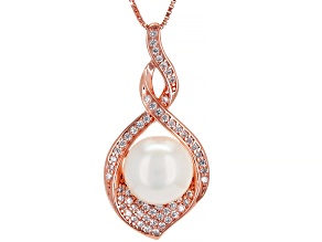 White Cultured Freshwater Pearl & Cubic Zirconia 0.58ctw 18k Rose Gold Over Sterling Silver Pendant