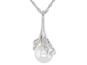 White Cultured Freshwater Pearl & White Zircon Rhodium Over Sterling Silver Pendant With Chain