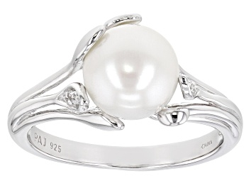 Picture of White Cultured Freshwater Pearl & White Zircon Rhodium Over Sterling Silver Ring
