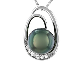 Cultured Tahitian Pearl & White Zircon Rhodium Over Sterling Silver Pendant With Chain