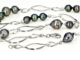 Cultured Tahitian Pearl Rhodium Over Sterling Silver 25.5 Inch Station Necklace