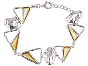 Golden South Sea Mother-of-Pearl Rhodium Over Sterling Silver 7 Inch Bracelet