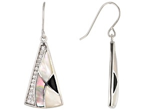 White South Sea & Tahitian Mother-of-Pearl, Onyx, & Zircon 0.6ctw Rhodium Over Silver Earrings