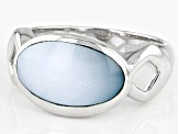 Blue South Sea Mother-of-Pearl Rhodium Over Sterling Silver Ring