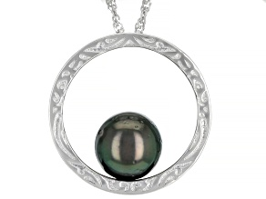 Cultured Tahitian Pearl 9-10mm Rhodium Over Sterling Silver Pendant With Chain