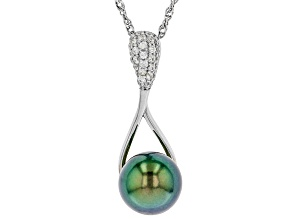 Cultured Tahitian Pearl & White Zircon 0.16ctw Rhodium Over Sterling Silver Pendant With Chain