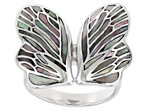 Tahitian Mother-of-Pearl Rhodium Over Sterling Silver Butterfly Ring