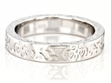 Rhodium Over Sterling Silver Textured Band Ring