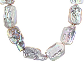 Multi-Color Freshwater Pearl Rhodium Over Sterling Silver 20 Inch Necklace