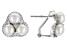White Cultured Freshwater Pearl & Cubic Zirconia 0.66ctw Rhodium Over Sterling Silver Earrings