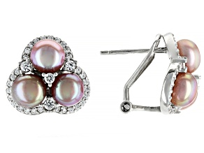 Pink Cultured Freshwater Pearl & Cubic Zirconia 0.66ctw Rhodium Over Sterling Silver Earrings